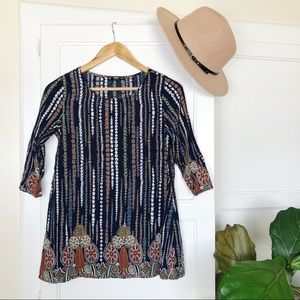 SHEIN Silky Boho Hippy Floral Pattern Tunic S
